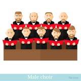 Mieszkanie stylowy męski chór w dwa raws z czerń kostiumami i czerwonych okładkowych notatkach na bielu ilustracji