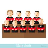 Mieszkanie stylowy męski chór w dwa raws z czerń kostiumami i czerwonymi okładkowymi notatkami odizolowywającymi ilustracji