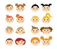 Mieszkanie stylu dzieciaków twarze Obrazy Stock