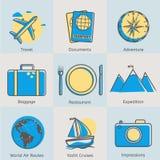 Mieszkanie turystyki kreskowe ikony ustawiać Nowożytnego projekta styl Fotografia Stock