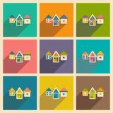 Mieszkanie z cień ikoną i wiszącej ozdoby applacation Zdjęcie Royalty Free