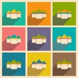 Mieszkanie z cień ikoną i wiszącej ozdoby applacation domem Zdjęcia Stock