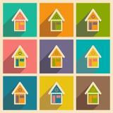 Mieszkanie z cień ikoną i wiszącej ozdoby applacation domem ilustracji