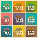 Mieszkanie z cień ikoną i wiszącej ozdoby applacation taxi Zdjęcia Stock