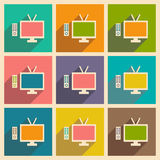 Mieszkanie z cień ikoną tv i wiszącej ozdoby applacation Zdjęcie Stock