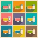 Mieszkanie z cień wiszącej ozdoby i ikony applacation komputerem osobistym ilustracja wektor
