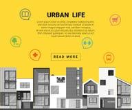 Mieszkaniowa sztandaru i mieszkania ikona dla sieć projekta Zdjęcia Stock
