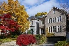 Mieszkaniowa ulica z spadków kolorami zdjęcia royalty free