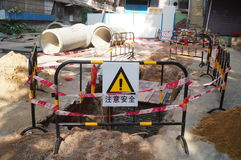 Mieszkaniowego okręgu wody rurociąg budowa Obrazy Royalty Free