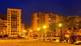 Mieszkaniowi domy przy portową stroną w wieczór Algeciras Fotografia Royalty Free