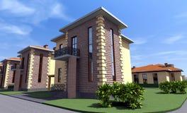 Mieszkaniowy dom 3D Obrazy Royalty Free