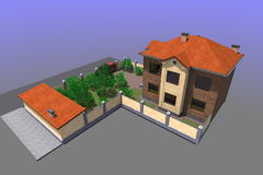 Mieszkaniowy dom 3D Zdjęcia Stock