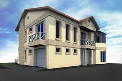 Mieszkaniowy dom 3D Obrazy Stock