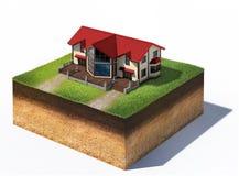 Mieszkaniowy dom na kawałku ziemi ilustracji
