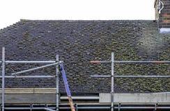Mieszkaniowy domu dach pokazuje budowę mech na starych płytkach up zdjęcia royalty free