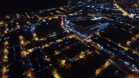 MIESZKANIOWY I HANDLOWY nocy widok z lotu ptaka Zdjęcia Royalty Free