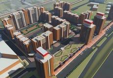 Mieszkaniowy kompleks (3d rendering) Obrazy Royalty Free