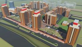 Mieszkaniowy kompleks (3d rendering) Zdjęcie Stock