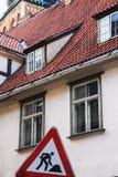 mieszkaniowy średniowieczny dom w Ryskim starym miasteczku Zdjęcie Royalty Free