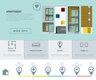 Mieszkaniowy sztandar i Infographic dla sieć projekta 1 Obrazy Royalty Free