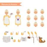 Śmieszna babci gospodyni domowej kreskówka Obraz Royalty Free