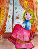 Śmieszna dziewczyna jest usytuowanym blisko okno. Obrazy Stock