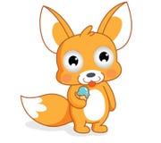 Śmieszna kreskówki wiewiórka je lody Obraz Stock