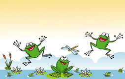 śmieszna kreskówki żaba Obrazy Royalty Free