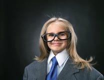 Śmieszna mała biznesowa dziewczyna Fotografia Stock