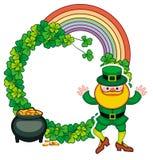Śmieszna round rama z shamrock i leprechaun Raster klamerki sztuka Obraz Royalty Free