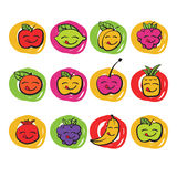 Śmieszne kolorowe owoc, wektorowe ikony Fotografia Stock