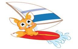 Śmiesznej kreskówki wiewiórczy surfing Obrazy Stock