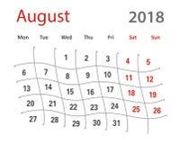 2018 śmiesznej oryginalnej siatki Sierpniowych kreatywnie kalendarzy Fotografia Royalty Free