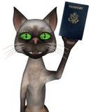 Śmiesznej podróży Paszportowy kot Odizolowywający Obrazy Royalty Free