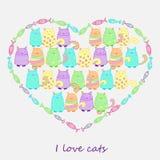 Śmieszni kolorowi koty z ryba Zdjęcia Royalty Free