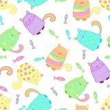 Śmieszni kolorowi koty z ryba Obraz Royalty Free