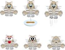 Śmieszni koty. Wektorowa ilustracja Obrazy Royalty Free