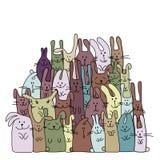 Śmieszni króliki rodzinni dla twój projekta Obraz Stock