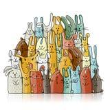Śmieszni króliki rodzinni dla twój projekta Fotografia Royalty Free