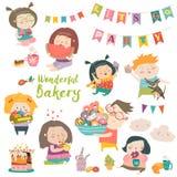 Śmieszni kreskówek dzieci, cukierki i Fotografia Royalty Free