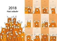 Śmieszni lisy, kalendarza 2018 projekt ilustracji