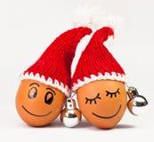 Śmieszni uroczy jajka w zimy Santa kapeluszu Fotografia Stock