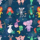 Śmieszny bezszwowy wzór z zodiaka znakiem Zdjęcia Royalty Free