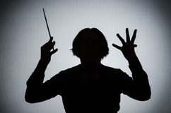 Śmieszny dyrygent w muzykalnym pojęciu Obraz Royalty Free