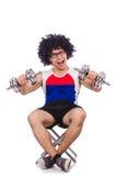 Śmieszny facet z dumbbels Zdjęcie Stock