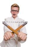 Śmieszny karate wojownik z nunchucks Zdjęcia Stock