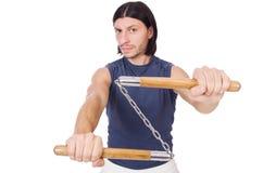 Śmieszny karate wojownik z nunchucks Fotografia Stock
