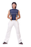 Śmieszny karate wojownik z nunchucks Fotografia Royalty Free