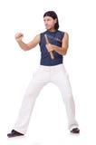 Śmieszny karate wojownik z nunchucks Obrazy Royalty Free