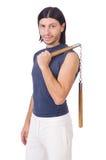 Śmieszny karate wojownik z nunchucks Zdjęcie Stock